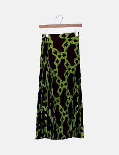 Falda marrón y verde de tablas