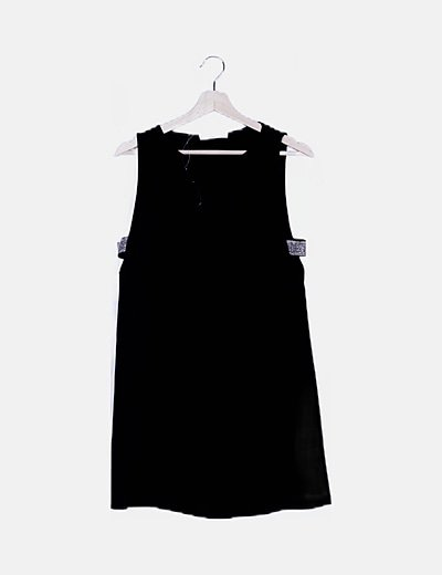 Vestido negro detalle plateado