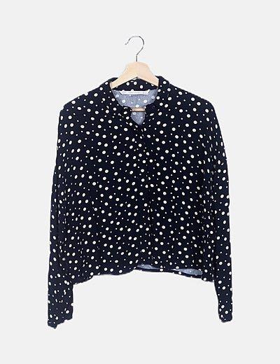 Camisa azul marino moteada