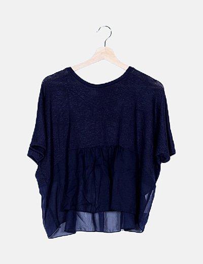 Camiseta punto peplum azul marino