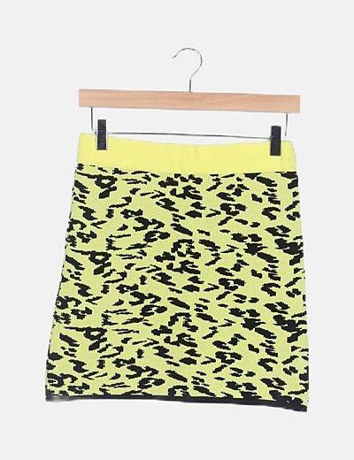 Falda punto amarilla animal print