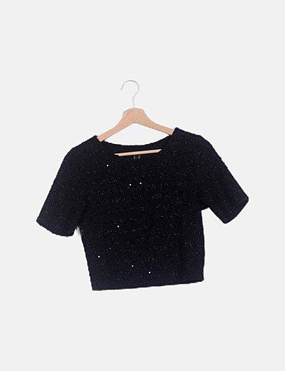 Top negro texturizado glitter