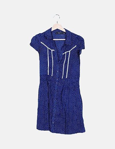 Vestido azul de topos fluido