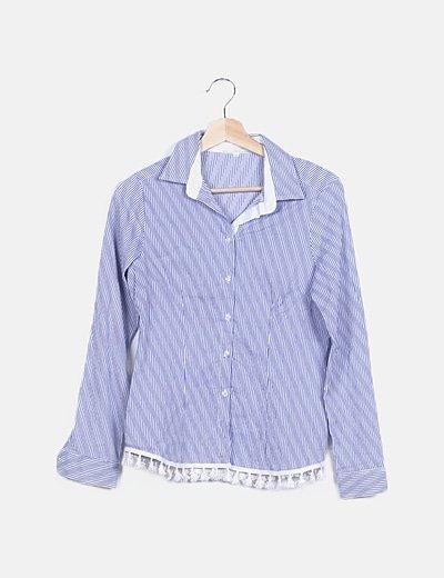 Camisa azul de cuadros con flecos