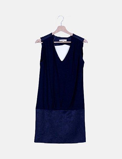 Vestido azul marino combinado