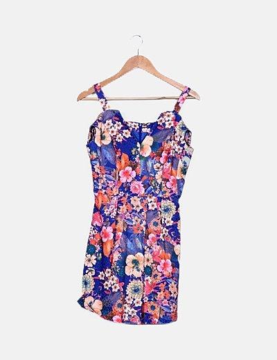 Vestido azul noche estampado floral multicolor