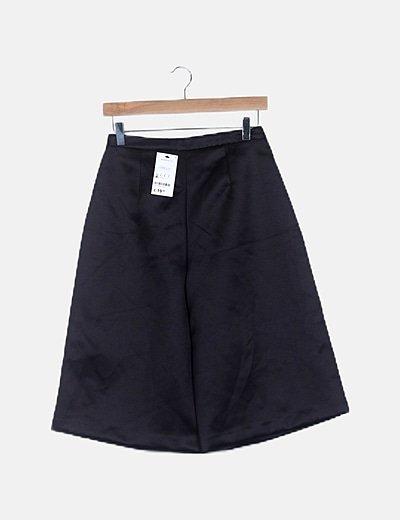 Pantalón culotte satén negro
