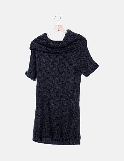 Vestido gris melange crochet