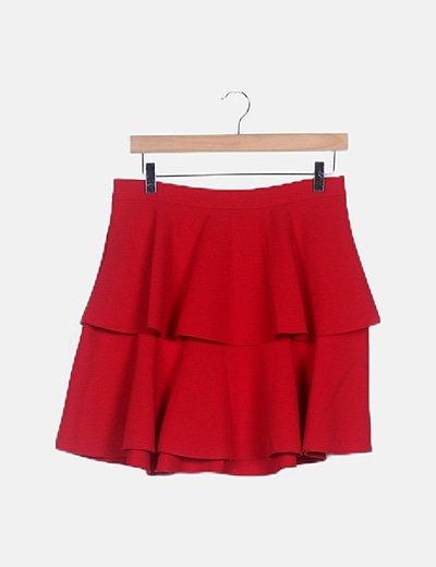 Falda roja evasé volantes