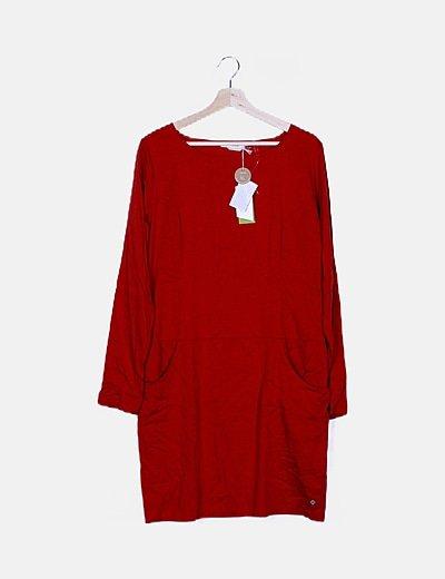 Vestido mini rojo manga larga
