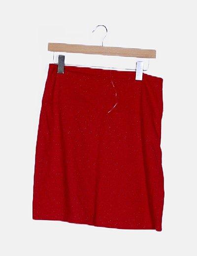 Falda mini roja moteada