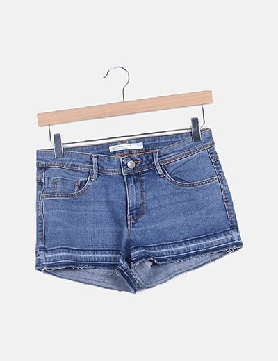Short denim efecto deslavado