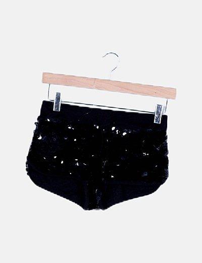 Short paillettes negro