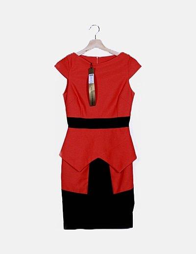 Vestido texturizado bicolor sin mangas