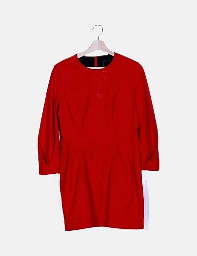 Vestido rojo evasé manga larga