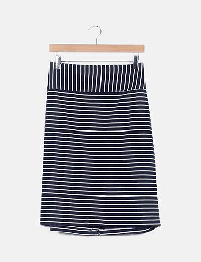 Falda azul marino de rayas