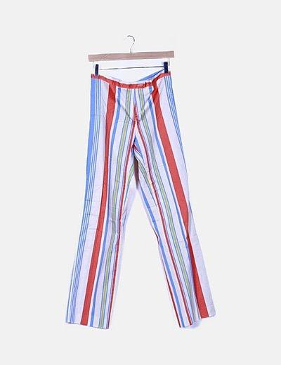 Pantalón de rayas multicolor corte recto