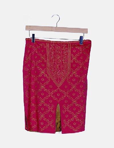 Falda midi rosa bordada