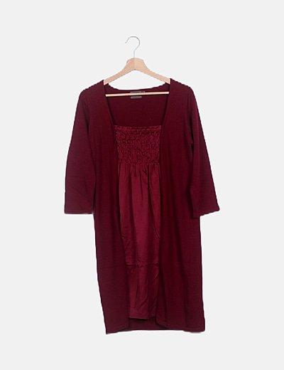 Vestido granate tricot detalle satinado