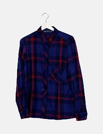 Camisa azul marino cuadros madras