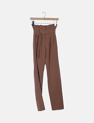 Pantalón paperbag marrón