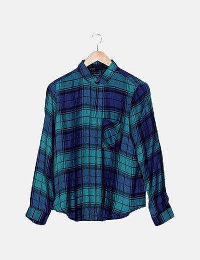 Camisa verde y azul marino cuadros