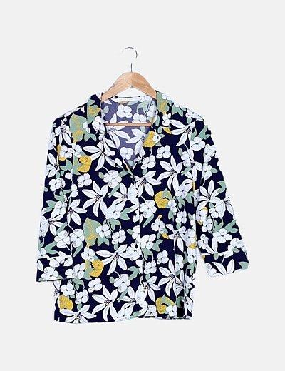 Camisa azul noche estampado floral