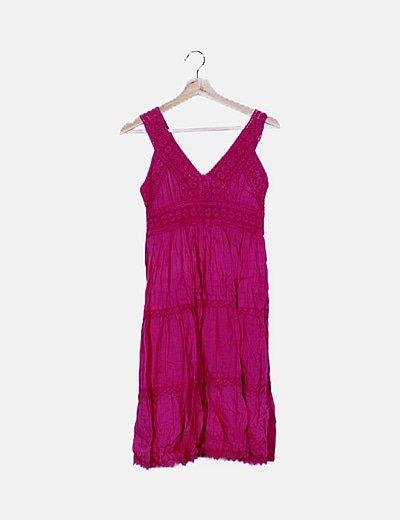 Vestido rosa fucsia fluido