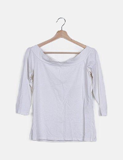 Camiseta blanca cuello bardot