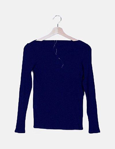 Camiseta azul canalé