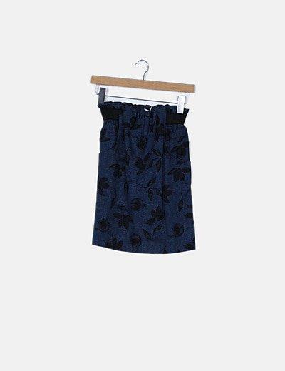Falda azul estampado