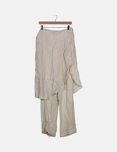 Falda pantalón beige glitter