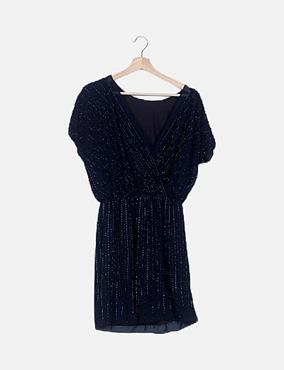 Vestido azul detalle abalorio