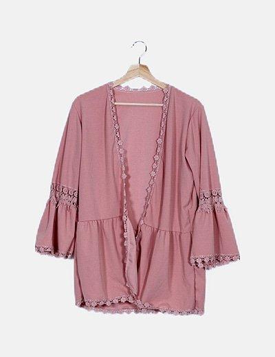 Kimono rosa manga crochet