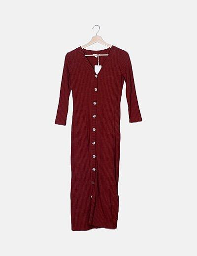 Maxi vestido marrón abotonado