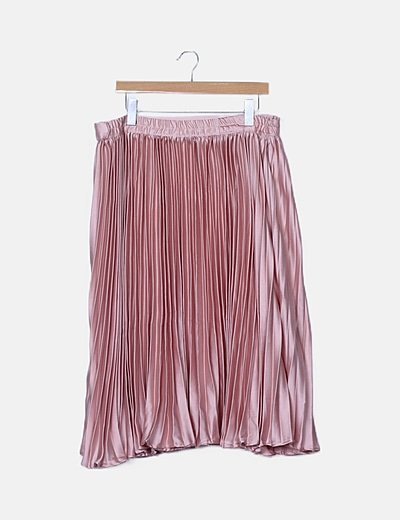 Falda maxi rosa plisada
