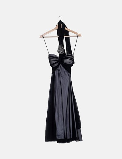 Vestido combinado negro palabra de honor