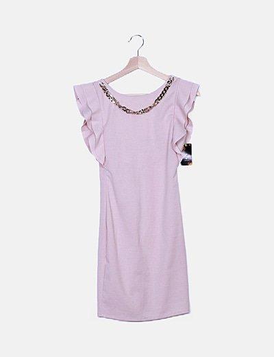 Vestido rosa detalle cadena