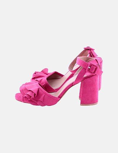 Zapato de tacón rosa de antelina