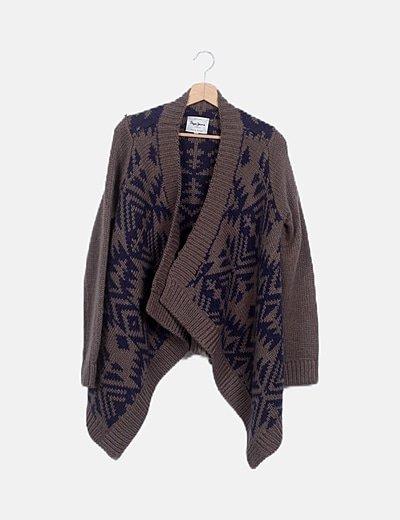 Chaqueta lana combinada