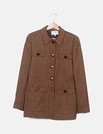 Conjunto blazer y pantalón marrón jaspeado