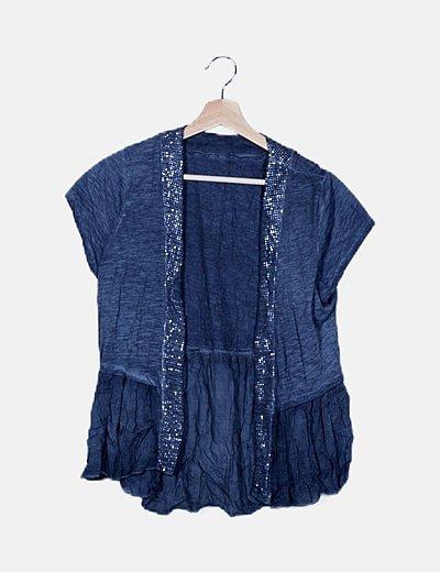 Kimono azul con lentejuelas