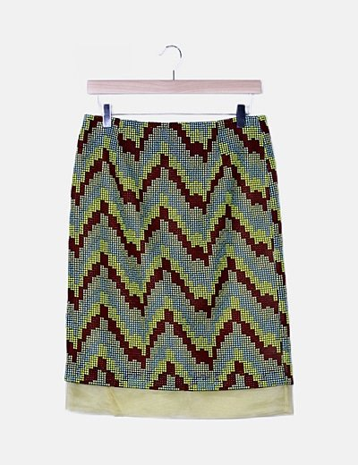 Falda tricolor texturizada