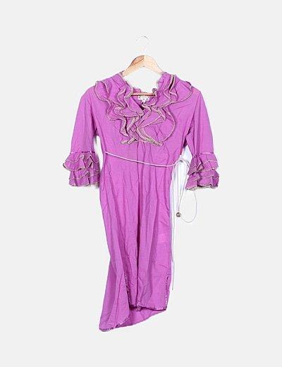 Vestido combinado rosa lace up
