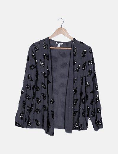 Kimono gris paillettes
