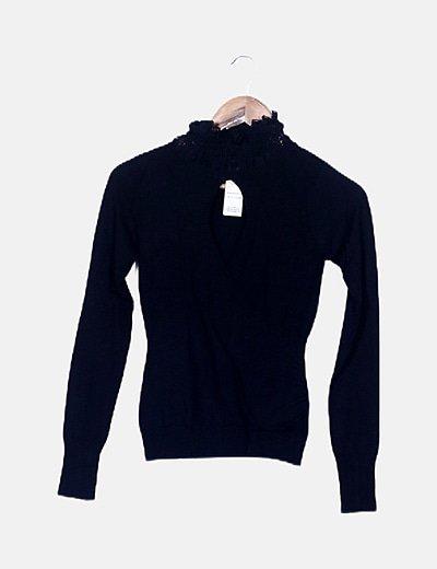 Jersey de punto negro combinado