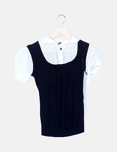 Jersey de punto negro detalle cuello