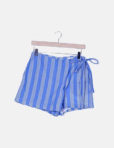 Faldapantalón rayas azul