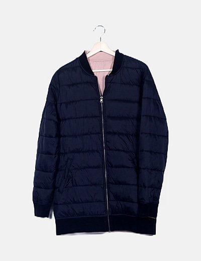 Abrigo largo azul marino acolchado reversible