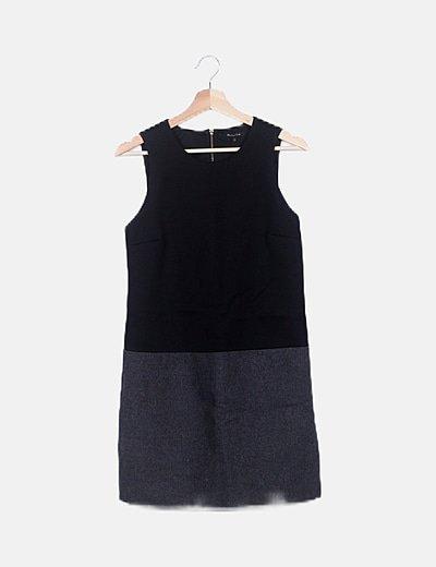Vestido combinado lana gris